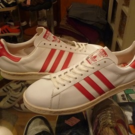 "adidas - 「<deadstock>80's adidas CAMPUS LEATHER white/red""made in FRANCE"" size:GB13(31.5cm) 60000yen」完売"