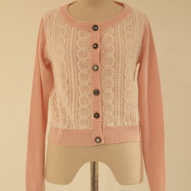 nadesico - Lacy knitted cardigan/Pink