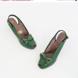 Vintage 40s Green Bow Heels