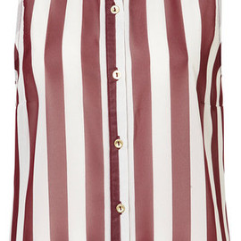 TOPSHOP - Sleeveless Stripe Shirt in Burgundy