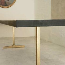 BDDW (New York) - Bronze Trestle Table, Ebonized Wood & Cast Bronze Butterflies