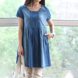 Dress - Lovely doll dress/ cotton tunic knee length dress