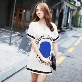 LUXE ASIAN - Luxe Asian Korean Women Fashion Face Blue Beige Dress