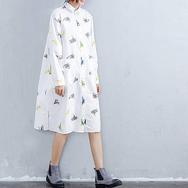 printing long dress - Loose large size printing long dress Leisure shirt dress white single breasted Open gown