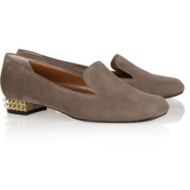 FENDI - Studded suede loafers