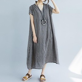 V collar dress - Plaid dress, Linen Dresses, Cotton Dresses, Loose Dresses, Dresses Summer