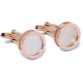 Lanvin - Interchangeable Rose Gold-Plated Mother-of-Pearl and Onyx Cufflinks
