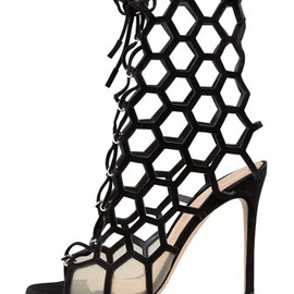 Gianvito Rossi - Lace-yo Honeycomb Open toe bootie