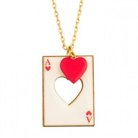 N2 - RED HEART CUT FROM HIS CARD NECKLACE