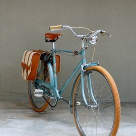 Blue bike with saddle bags