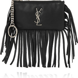 SAINT LAURENT - Monogramme small fringed leather pouch