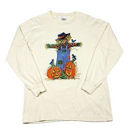 VINTAGE - Vintage 1990s 90s Halloween Scarecrow and Pumpkins Shirt Made in USA Mens Medium