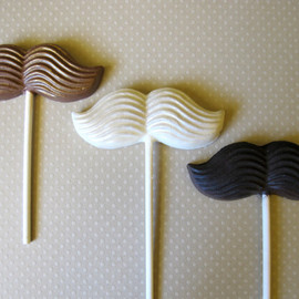The Frosted Petticoat - 3 Chocolate Mustache Lollipops