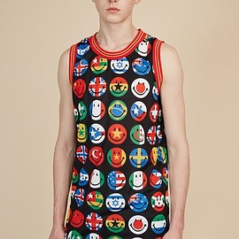 MOSCHINO - FLAG SMILEY FACE JERSEY TANK