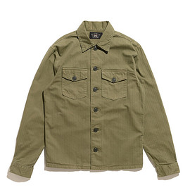 RRL - Herringbone Twill Shirt-Military OliveHerringbone