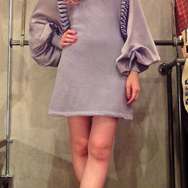 Vintage - Lavender gray knit long sleeve ruffled satin dress
