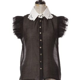 Honey mi Honey - Lace collar shoulder frill biouse black