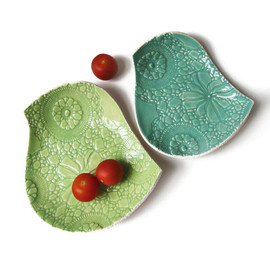 PrinceDesignUK - Ceramic plate set Lace textured bird plates in key lime green and seafoam turquoise stoneware ceramic pottery Crochet imprint nesting bowls