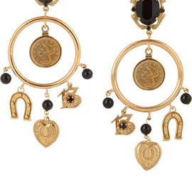 Dolce & Gabbana -  Sicilia gold-plated onyx and crystal charm earrings