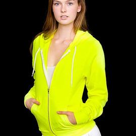 American Apparel - Unisex Flex Fleece Zip Hoodie / Neon Yellow
