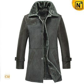 Cwmalls - Leather Shearling Winter Coat for Men CW856068