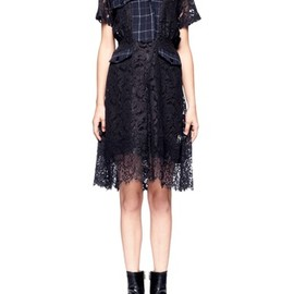 sacai - Check Flannel Lace Dress