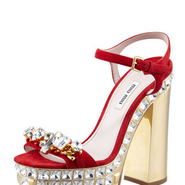 miu miu - Jeweled Suede Platform Sandals