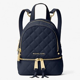 MICHAEL KORS - MICHAEL Michael Kors Rhea Extra-Small Quilted-Leather Backpack Navy Blue