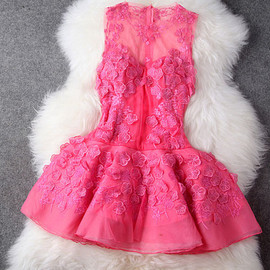 fashion - Flower embroidery tank top mesh dress flared skirt wedding party