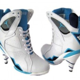 Jordan heel - Air Jordan 7 Women High Heels White Blue