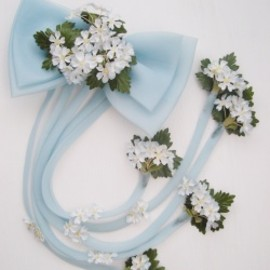 "1960-70's ""FLORAL & BABY BLUE BOW"" Headpiece"