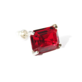 simmon - LOVE K10×SV Crystal Earring (red)