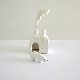 PearsonMaron - Polar Bear Factory - Miniature Ceramic Sculpture