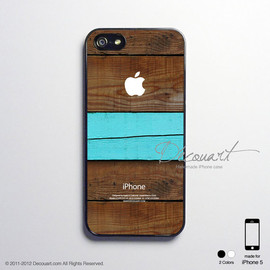 Decouart - iPhone 5 case, iPhone 5 cover, case for iPhone 5, black wood grain with mint stripe S460