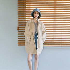 Cherry L, LOOKBOOK - Beige Jacket, Stripe Tee, Street Store Sandals