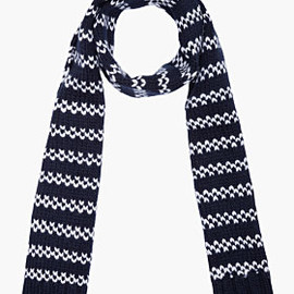 A.P.C. - Navy Jacquard Knit Wool Scarf