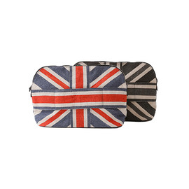 beautiful people - linen canvas union jack stripe clutch