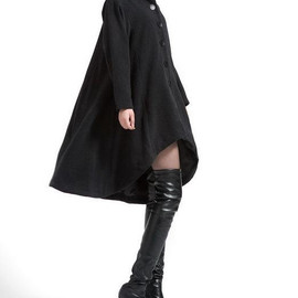 MaLieb - Black single breasted wool coat cloak outerwear asymmetry wool Overcoat Swallowtail winter coat