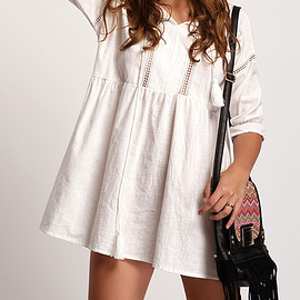 Romwe - White Half Sleeve Lace Up Loose Dress