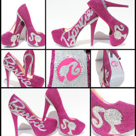 Barbie - Barbie Heels with Swarovski Crystals on Pink Glitter Platforms