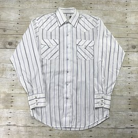VINTAGE - Vintage 80s Panhandle Slim White Striped Pearl Snap Button Up Mens Size Small