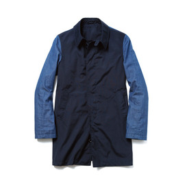 uniform experiment - DENIM SLEEVE SOUTIEN COLLAR COAT (FABRIC MIX)/navy