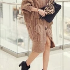 HOW-MI - Loose Bat Sleeve Long Coat ♡♡