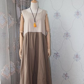 linen dress, maxi dress In linen color, loose Print dress