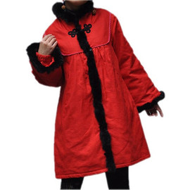 padded coat - red Cotton Babydoll long padded coat