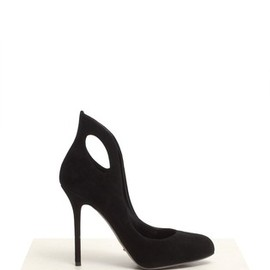 Sergio Rossi - Suede cut-out high-back pumps