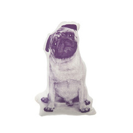 Areaware - Organic Animal Printed Cushions Mini Pug Plum