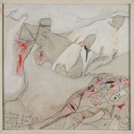 Gastone Novelli - The East Shines in Red, 1968, oil and pencil on canvas