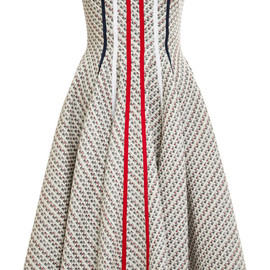 THOM BROWNE - Resort2015 Strapless Flared Front Paneled Dress In Light Grey