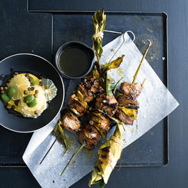 donna hay - lamb skewers with lemon and olive salsa